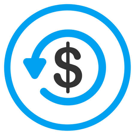 moneyback: Refund vector icon. Style is bicolor flat circled symbol, blue and gray colors, rounded angles, white background.