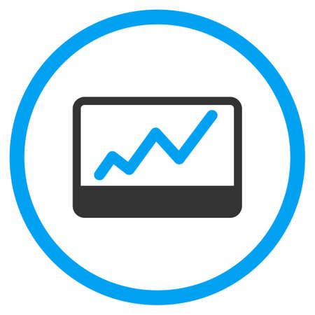stock market charts: Stock Market Charts vector icon. Style is bicolor flat circled symbol, blue and gray colors, rounded angles, white background.