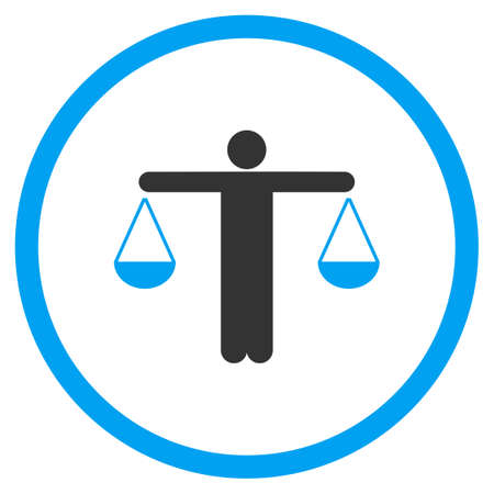 approximate: Lawyer glyph icon. Style is bicolor flat symbol, blue and gray colors, rounded angles, white background.