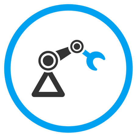 manipulator: Manipulator glyph icon. Style is bicolor flat symbol, blue and gray colors, rounded angles, white background.