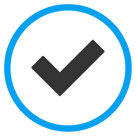 proceed: Ok Tick glyph icon. Style is bicolor flat symbol, blue and gray colors, rounded angles, white background.