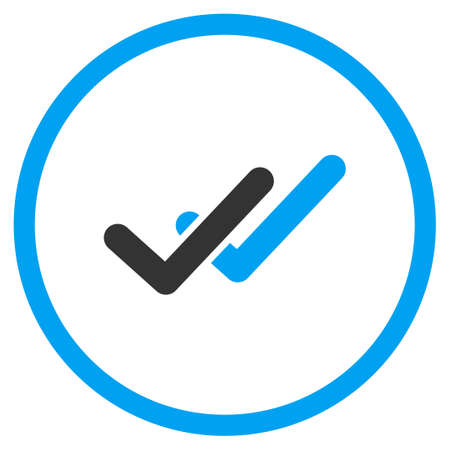 valid: Validation glyph icon. Style is bicolor flat symbol, blue and gray colors, rounded angles, white background.