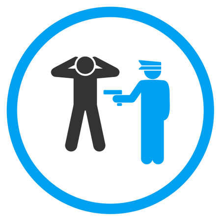 arrest: Arrest vector icon. Style is bicolor flat symbol, blue and gray colors, rounded angles, white background.