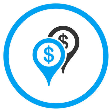 financial position: Bank Places vector icon. Style is bicolor flat symbol, blue and gray colors, rounded angles, white background.