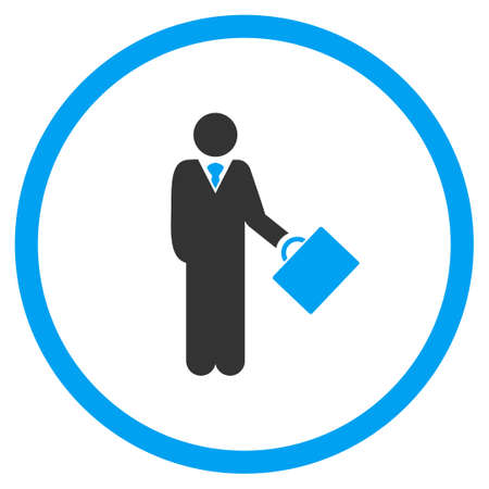 business partner: Businessman vector icon. Style is bicolor flat symbol, blue and gray colors, rounded angles, white background.