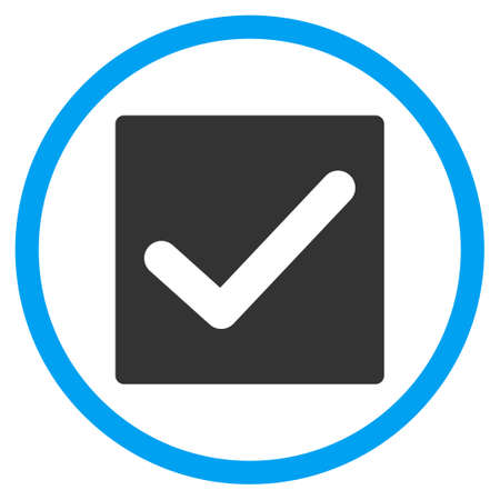marked boxes: Check Box vector icon. Style is bicolor flat symbol, blue and gray colors, rounded angles, white background.