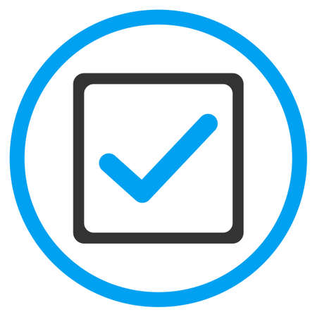 marked boxes: Checkbox vector icon. Style is bicolor flat symbol, blue and gray colors, rounded angles, white background.