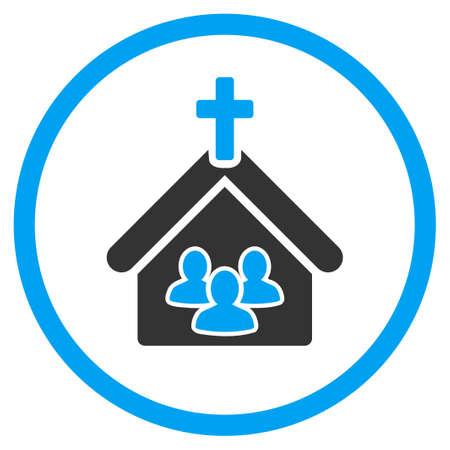 house of prayer: Church vector icon. Style is bicolor flat symbol, blue and gray colors, rounded angles, white background.