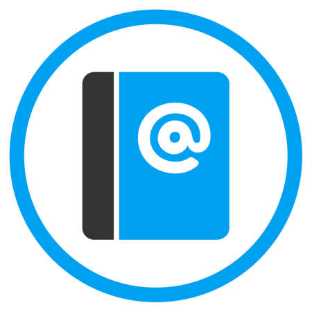 addresses: Emails vector icon. Style is bicolor flat symbol, blue and gray colors, rounded angles, white background.