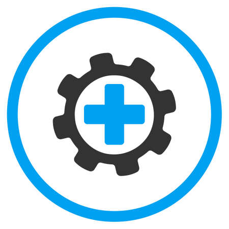 gear icon: Medical Tools vector icon. Style is bicolor flat symbol, blue and gray colors, rounded angles, white background.