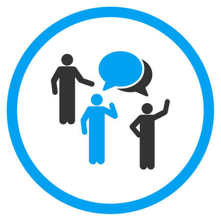 discussion: People Discussion vector icon. Style is bicolor flat symbol, blue and gray colors, rounded angles, white background.