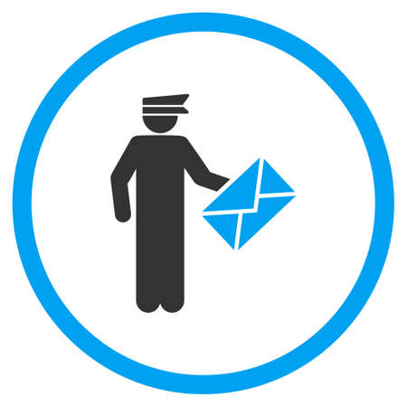 packet driver: Postman vector icon. Style is bicolor flat symbol, blue and gray colors, rounded angles, white background. Illustration