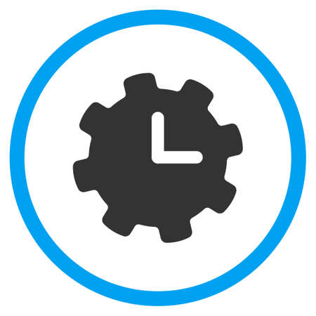 config: Time Options vector icon. Style is bicolor flat symbol, blue and gray colors, rounded angles, white background. Illustration