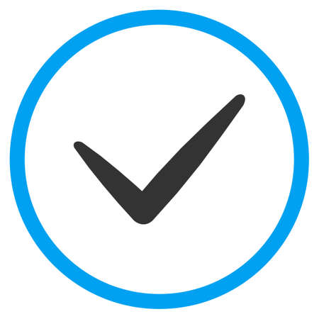 valid: Valid vector icon. Style is bicolor flat symbol, blue and gray colors, rounded angles, white background.