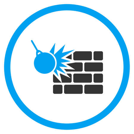 housebreaking: Wall Destruction vector icon. Style is bicolor flat circled symbol, blue and gray colors, rounded angles, white background.