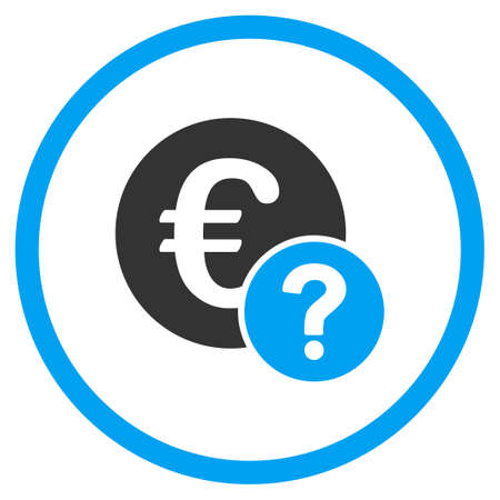 trading questions: Euro Status glyph icon. Style is bicolor flat circled symbol, blue and gray colors, rounded angles, white background.