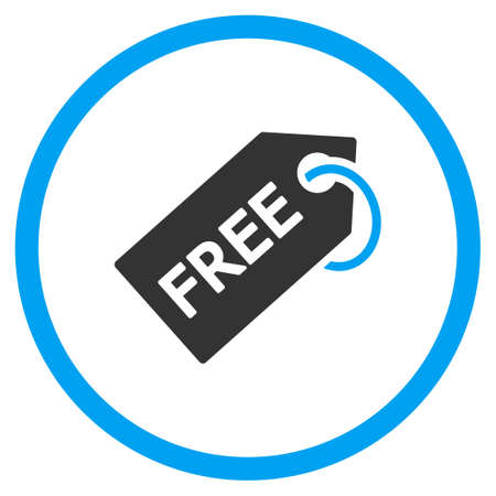 admittance: Free Tag vector icon. Style is bicolor flat symbol, blue and gray colors, rounded angles, white background.