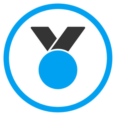 favorite number: Army Medal vector icon. Style is bicolor flat symbol, blue and gray colors, rounded angles, white background.