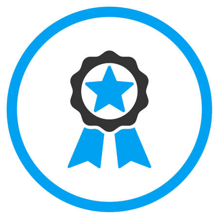 favorite number: Award vector icon. Style is bicolor flat symbol, blue and gray colors, rounded angles, white background. Illustration
