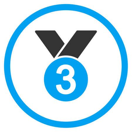 favorite number: Bronze Medal vector icon. Style is bicolor flat symbol, blue and gray colors, rounded angles, white background.