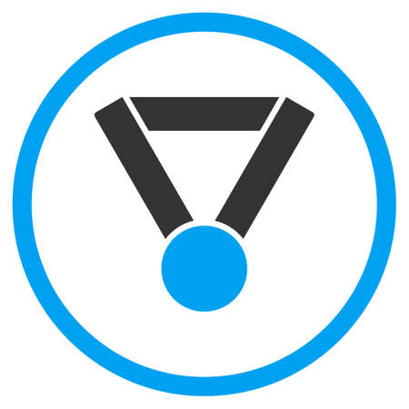 favorite number: Champion Award vector icon. Style is bicolor flat symbol, blue and gray colors, rounded angles, white background.