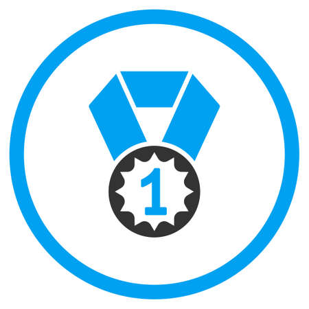favorite number: First Place Medal vector icon. Style is bicolor flat symbol, blue and gray colors, rounded angles, white background.