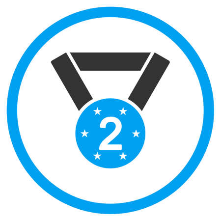favorite number: Second Medal vector icon. Style is bicolor flat symbol, blue and gray colors, rounded angles, white background. Illustration