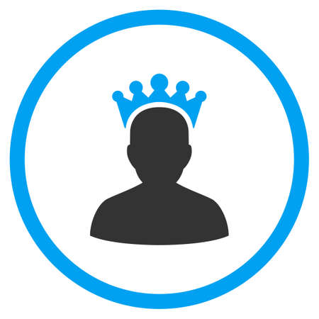 czar: King vector icon. Style is bicolor flat symbol, blue and gray colors, rounded angles, white background.
