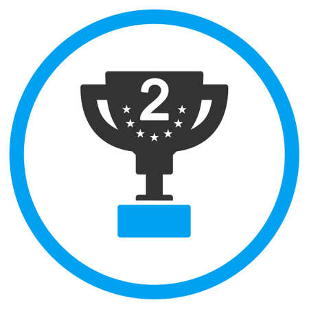 second prize: Second Prize vector icon. Style is bicolor flat symbol, blue and gray colors, rounded angles, white background.