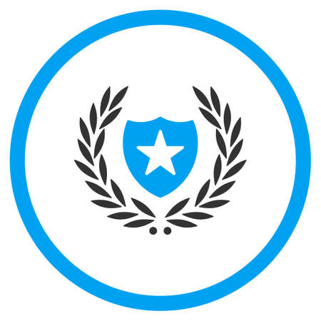 cognizance: Shield Embleme vector icon. Style is bicolor flat symbol, blue and gray colors, rounded angles, white background.