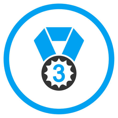favorite number: Third Place Medal vector icon. Style is bicolor flat symbol, blue and gray colors, rounded angles, white background.