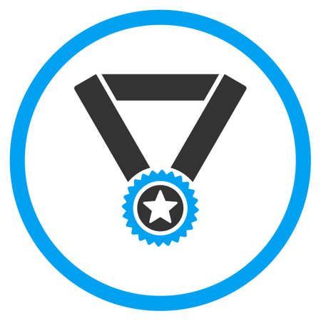 favorite number: Winner Medal vector icon. Style is bicolor flat symbol, blue and gray colors, rounded angles, white background.