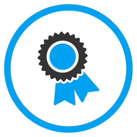 approval rate: Certification glyph icon. Style is bicolor flat symbol, blue and gray colors, rounded angles, white background. Stock Photo