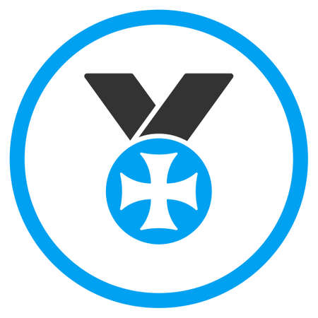 maltese: Maltese Medal glyph icon. Style is bicolor flat symbol, blue and gray colors, rounded angles, white background. Stock Photo