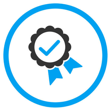 valid: Valid Prize Stamp glyph icon. Style is bicolor flat symbol, blue and gray colors, rounded angles, white background.