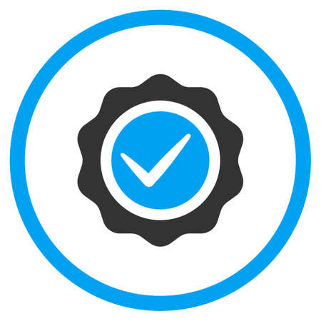 valid: Valid Stamp glyph icon. Style is bicolor flat symbol, blue and gray colors, rounded angles, white background.