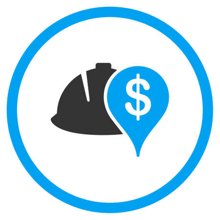 status: Development Financial Status vector icon. Style is bicolor flat symbol, blue and gray colors, rounded angles, white background.