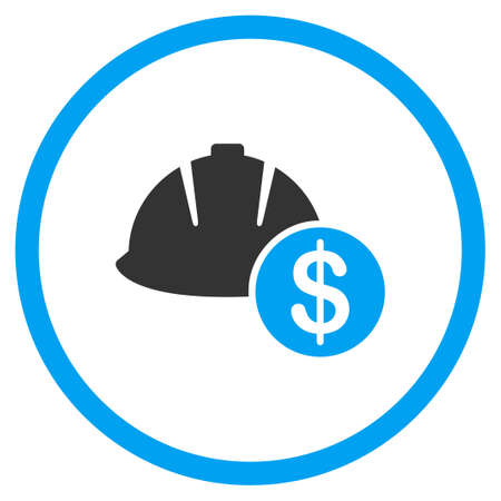 price development: Development Price vector icon. Style is bicolor flat symbol, blue and gray colors, rounded angles, white background.