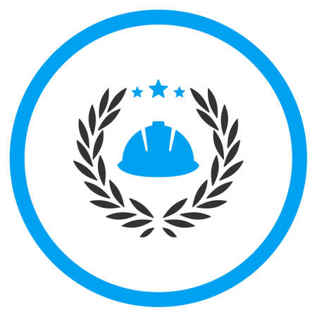 laureate: Developer Emblem vector icon. Style is bicolor flat symbol, blue and gray colors, rounded angles, white background.
