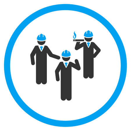 discussion: Engineer Discussion vector icon. Style is bicolor flat symbol, blue and gray colors, rounded angles, white background.