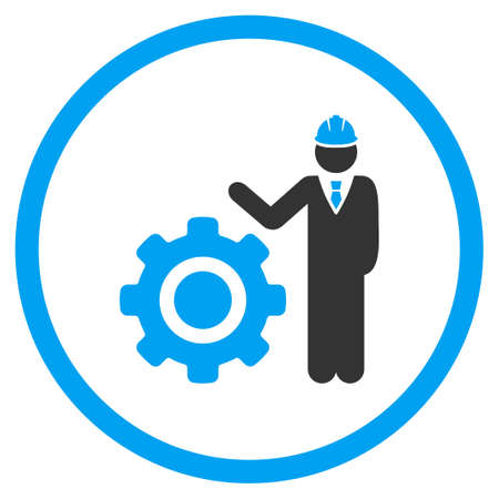 industrial safety: Engineer With Gear vector icon. Style is bicolor flat symbol, blue and gray colors, rounded angles, white background.