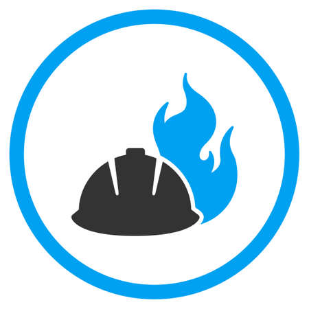 blue icon: Fire Protection Helmet vector icon. Style is bicolor flat symbol, blue and gray colors, rounded angles, white background.