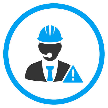 clients: Industrial Emergency Manager vector icon. Style is bicolor flat symbol, blue and gray colors, rounded angles, white background. Illustration