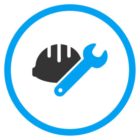 hardware configuration: Industrial Tools vector icon. Style is bicolor flat symbol, blue and gray colors, rounded angles, white background. Illustration