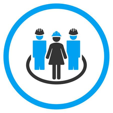 Travailleur social Liens vecteur icône. Le style est bicolor symbole plat, couleurs bleu et gris, angles arrondis, fond blanc.