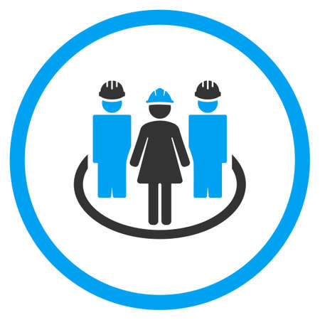 female girl: Worker Social Links vector icon. Style is bicolor flat symbol, blue and gray colors, rounded angles, white background. Illustration