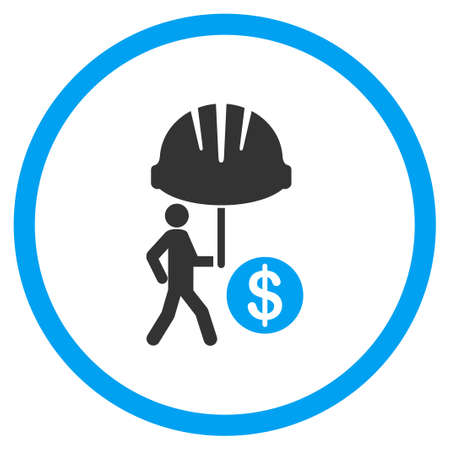 sure: Industrial Financial Insurance vector icon. Style is bicolor flat symbol, blue and gray colors, rounded angles, white background.