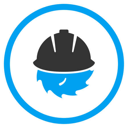 warning saw: Circular Blade Safety glyph icon. Style is bicolor flat symbol, blue and gray colors, rounded angles, white background.