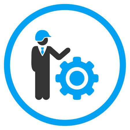ingenieria industrial: Icono del glifo de la ingeniería industrial. El estilo es símbolo plano bicolor, colores azules y grises, ángulos redondeados, fondo blanco. Foto de archivo