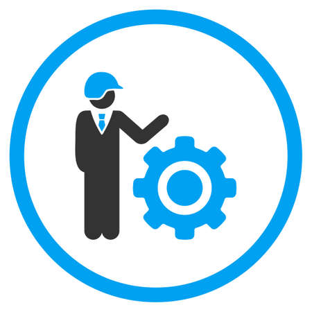 ingenieria industrial: Industrial Engineering glyph icon. Style is bicolor flat symbol, blue and gray colors, rounded angles, white background.